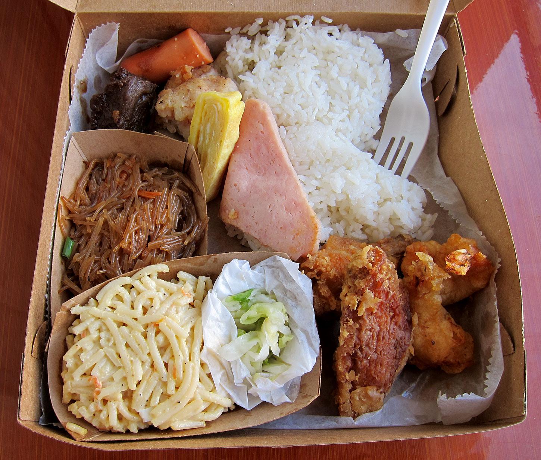 Po S Kitchen Lihue Kauai Deluxe Okazuya Box Lunch Clockwise From Top Left Shoyu Hot Dog Teri Meat Beef Corned Hash Egg Ham