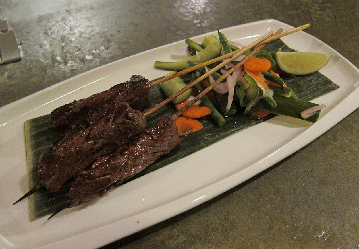 Steak Satay: Natural Hanger Steak, Garlic, Ginger & Soy. $13