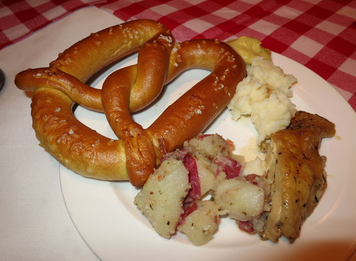 German Roast Chicken Potato Salad, Snow Potatoes and Soft Preztel