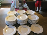 Full-sized porcelain dinner plates